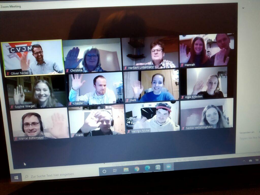Screenshot der Jahreshauptversammlung per Videochat.