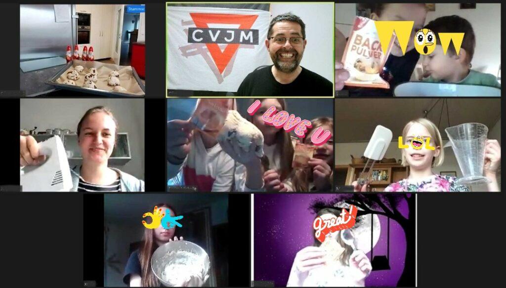 Screenshot der Backaktion der Kindergruppe über Videochat.
